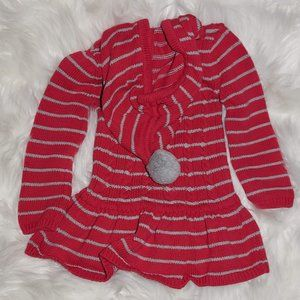 Size 2 years hot pink grey stripes hooded dress